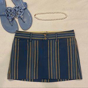 Alice + Olivia Blue & Yellow Mini Skirt